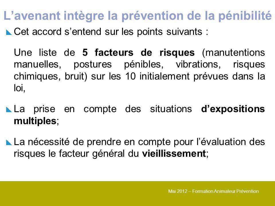 Mai 2012 – Formation Animateur Prévention Lavenant intègre la prévention de la pénibilité Cet accord sentend sur les points suivants : Une liste de 5