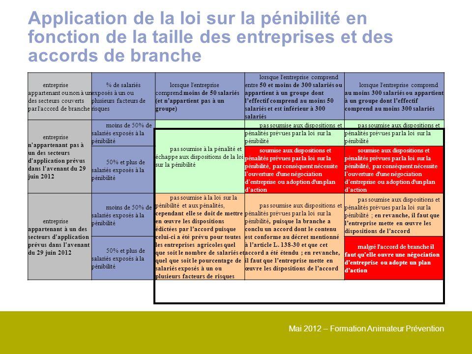 Mai 2012 – Formation Animateur Prévention Application de la loi sur la pénibilité en fonction de la taille des entreprises et des accords de branche e