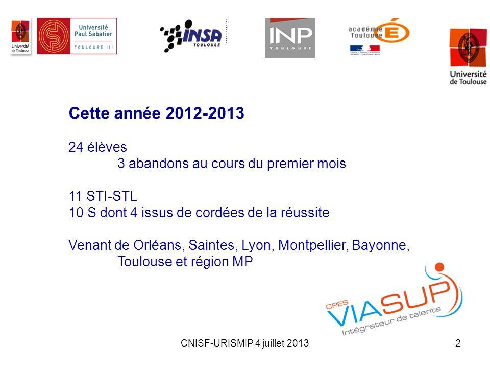 CNISF-URISMIP 4 juillet 20132 Cette année 2012-2013 24 élèves 3 abandons au cours du premier mois 11 STI-STL 10 S dont 4 issus de cordées de la réussi