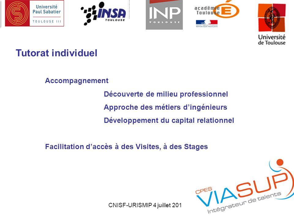 CNISF-URISMIP 4 juillet 20134 Tutorat individuel Accompagnement Découverte de milieu professionnel Approche des métiers dingénieurs Développement du c