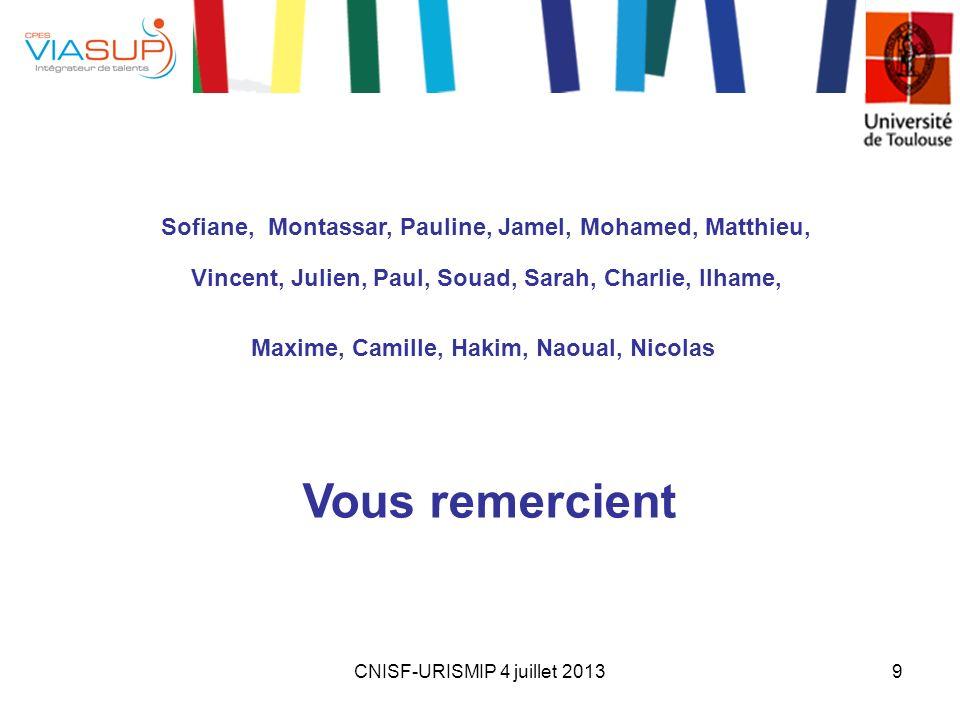 CNISF-URISMIP 4 juillet 20139 Sofiane, Montassar, Pauline, Jamel, Mohamed, Matthieu, Vincent, Julien, Paul, Souad, Sarah, Charlie, Ilhame, Maxime, Cam