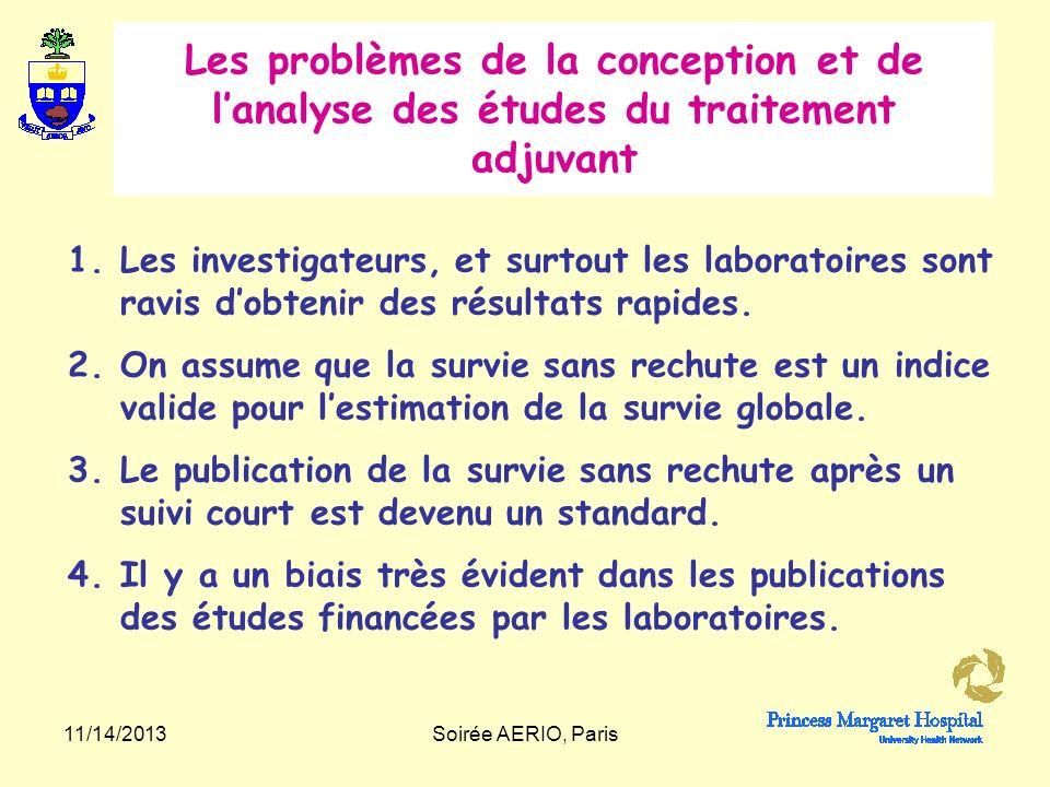 11/14/2013Soirée AERIO, Paris On voit que les différences de survie sans rechute observées tôt…….