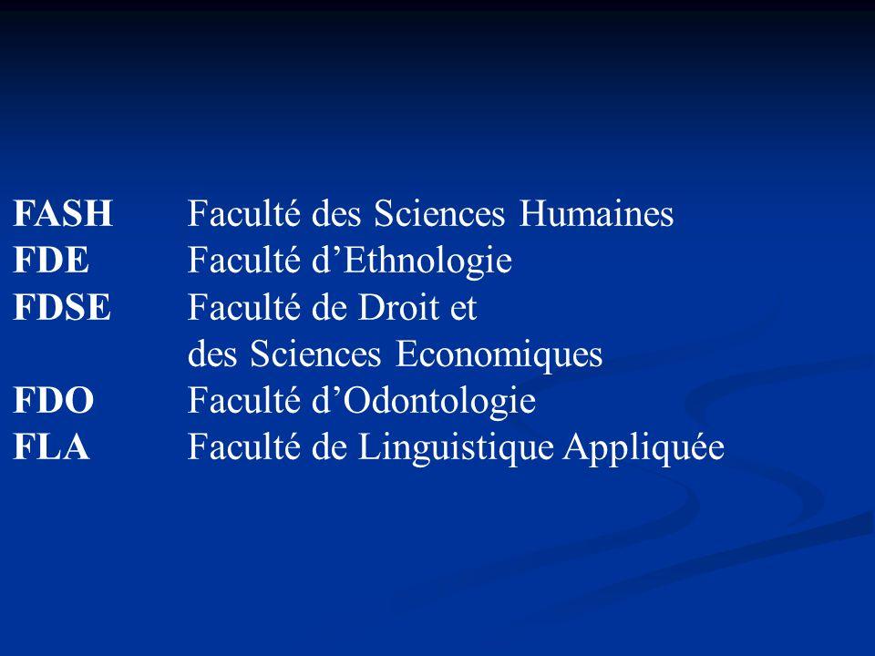 FASHFaculté des Sciences Humaines FDEFaculté dEthnologie FDSEFaculté de Droit et des Sciences Economiques FDOFaculté dOdontologie FLAFaculté de Lingui