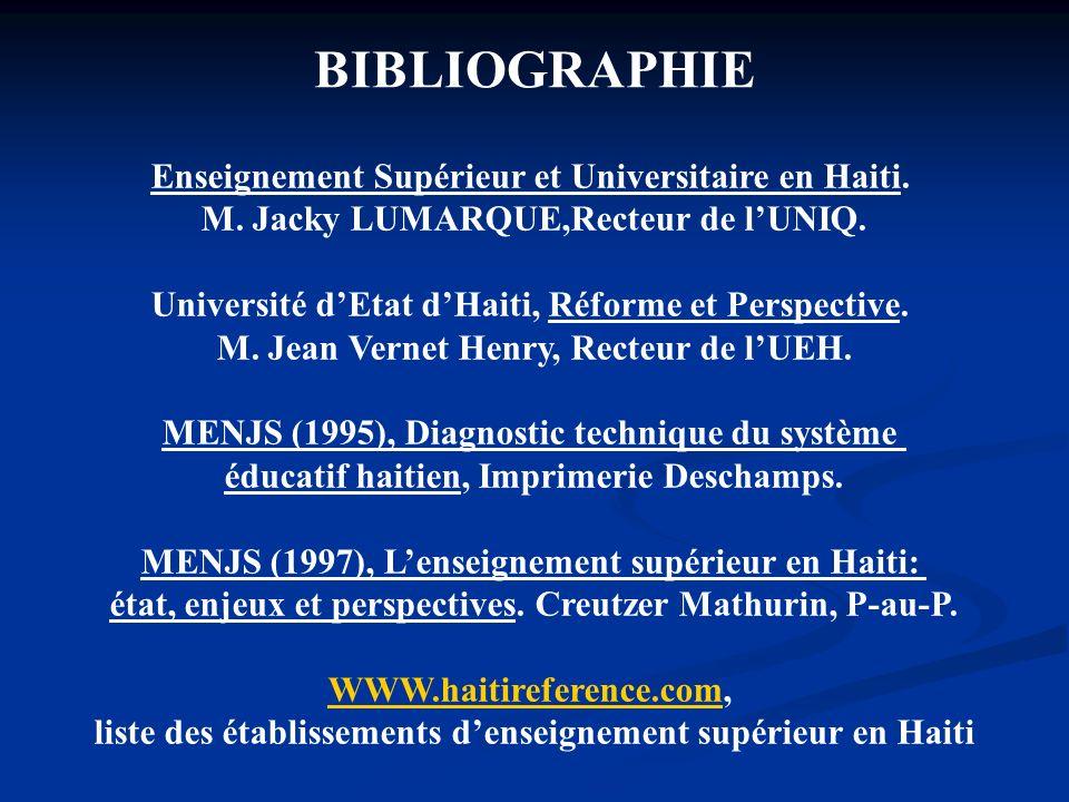 BIBLIOGRAPHIE Enseignement Supérieur et Universitaire en Haiti. M. Jacky LUMARQUE,Recteur de lUNIQ. Université dEtat dHaiti, Réforme et Perspective. M