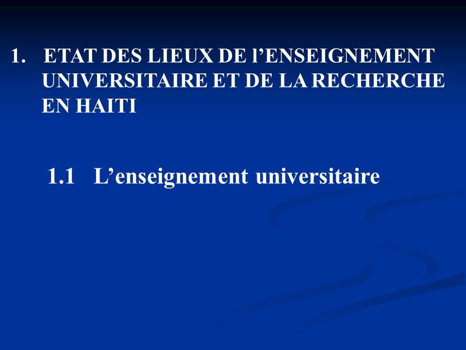 1. ETAT DES LIEUX DE lENSEIGNEMENT UNIVERSITAIRE ET DE LA RECHERCHE EN HAITI 1.1 Lenseignement universitaire