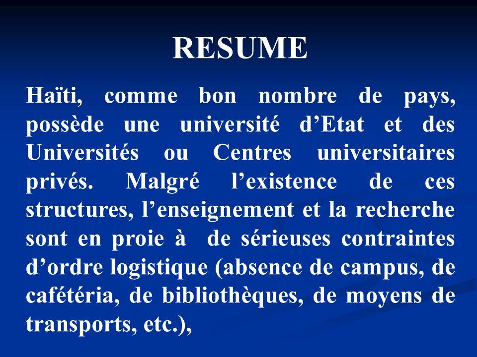 RESUME Haïti, comme bon nombre de pays, possède une université dEtat et des Universités ou Centres universitaires privés. Malgré lexistence de ces str