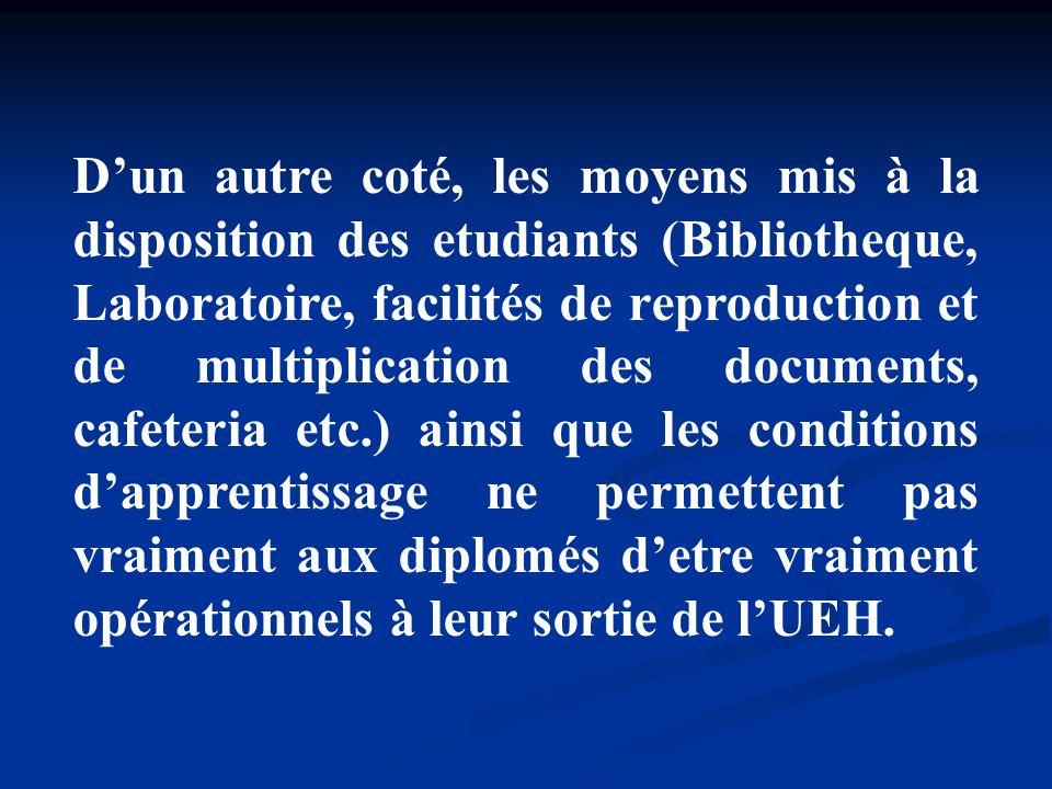 Dun autre coté, les moyens mis à la disposition des etudiants (Bibliotheque, Laboratoire, facilités de reproduction et de multiplication des documents
