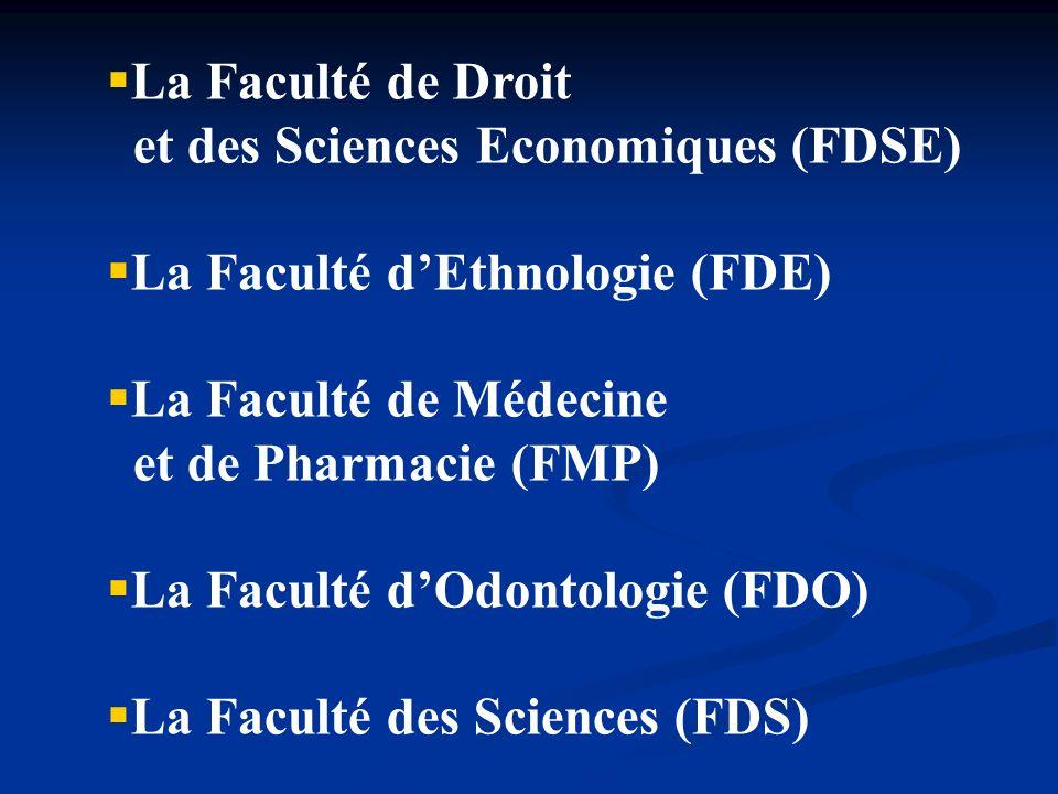 La Faculté de Droit et des Sciences Economiques (FDSE) La Faculté dEthnologie (FDE) La Faculté de Médecine et de Pharmacie (FMP) La Faculté dOdontolog
