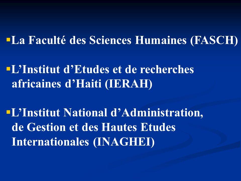 La Faculté des Sciences Humaines (FASCH) LInstitut dEtudes et de recherches africaines dHaiti (IERAH) LInstitut National dAdministration, de Gestion e