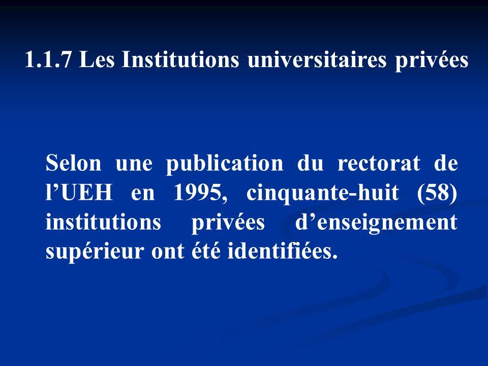 1.1.7 Les Institutions universitaires privées Selon une publication du rectorat de lUEH en 1995, cinquante-huit (58) institutions privées denseignemen