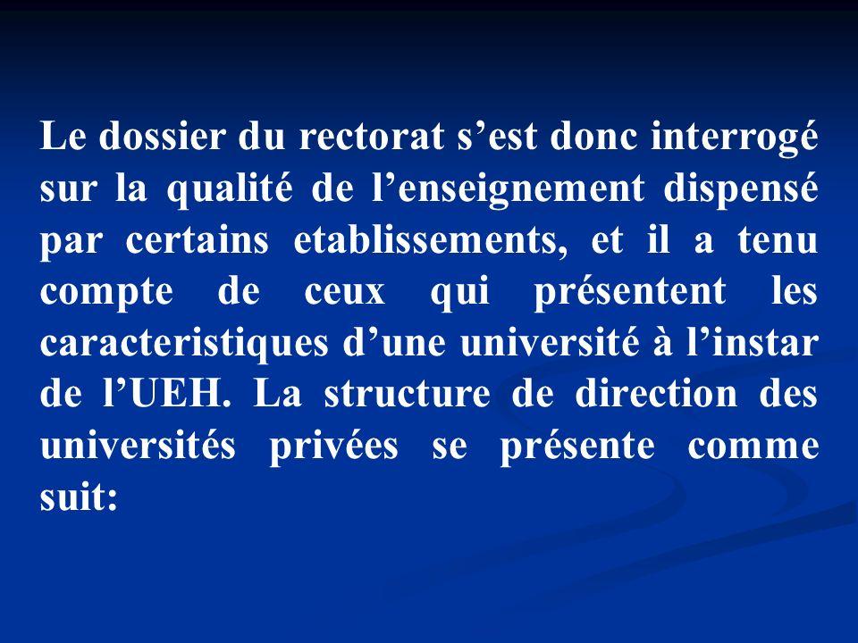 Le dossier du rectorat sest donc interrogé sur la qualité de lenseignement dispensé par certains etablissements, et il a tenu compte de ceux qui prése