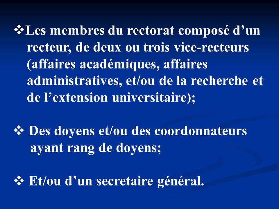 Les membres du rectorat composé dun recteur, de deux ou trois vice-recteurs (affaires académiques, affaires administratives, et/ou de la recherche et