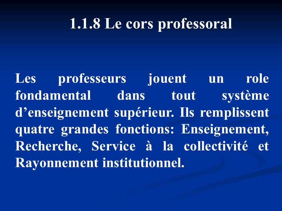 1.1.8 Le cors professoral Les professeurs jouent un role fondamental dans tout système denseignement supérieur. Ils remplissent quatre grandes fonctio