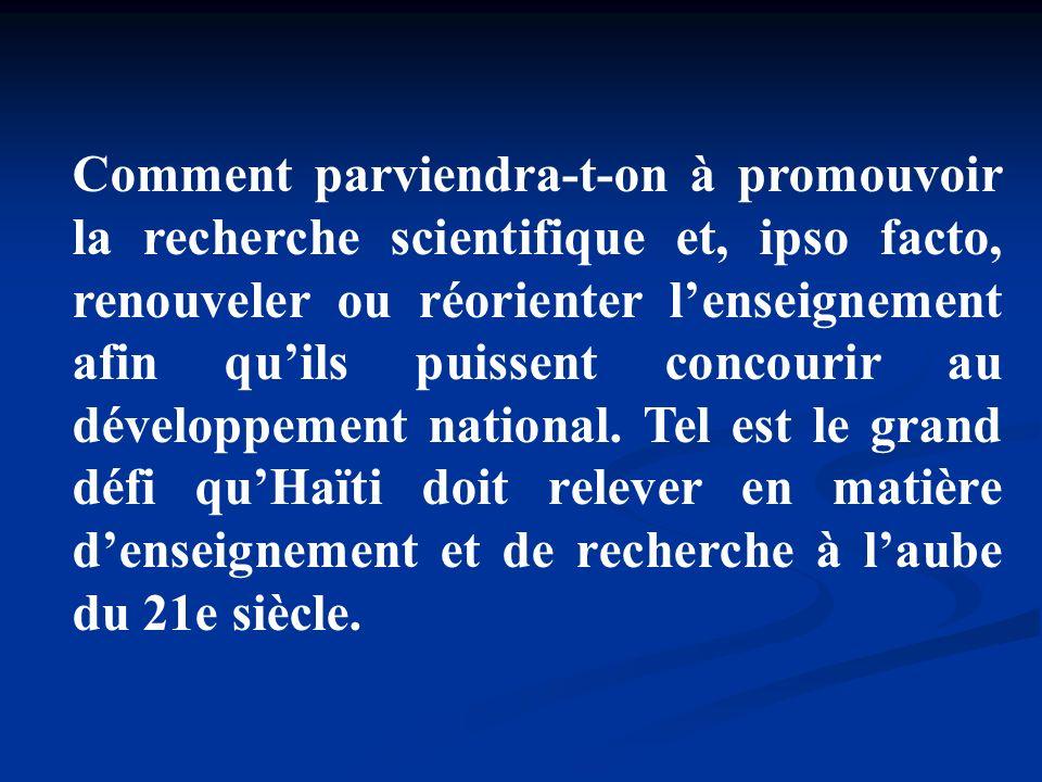 Labsence dinstitutions vouées à la promotion de la recherche scientifique constitue une difficulté majeure au développement de cette activité.