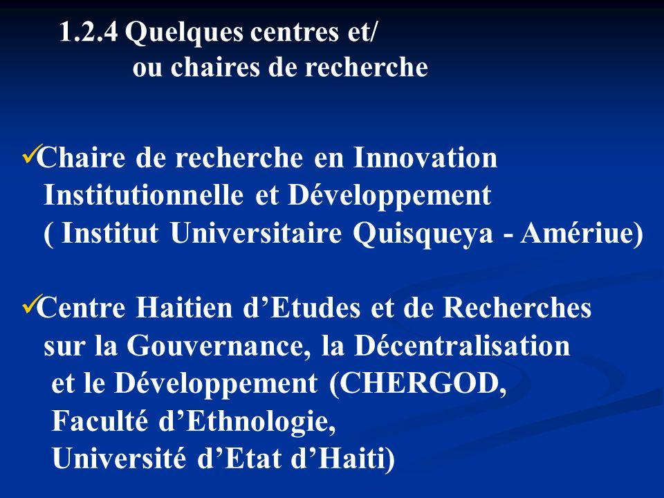 1.2.4 Quelques centres et/ ou chaires de recherche Chaire de recherche en Innovation Institutionnelle et Développement ( Institut Universitaire Quisqu