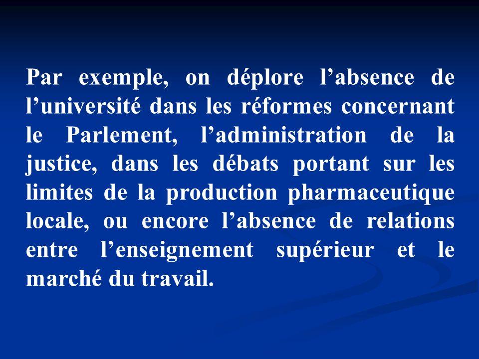 Par exemple, on déplore labsence de luniversité dans les réformes concernant le Parlement, ladministration de la justice, dans les débats portant sur