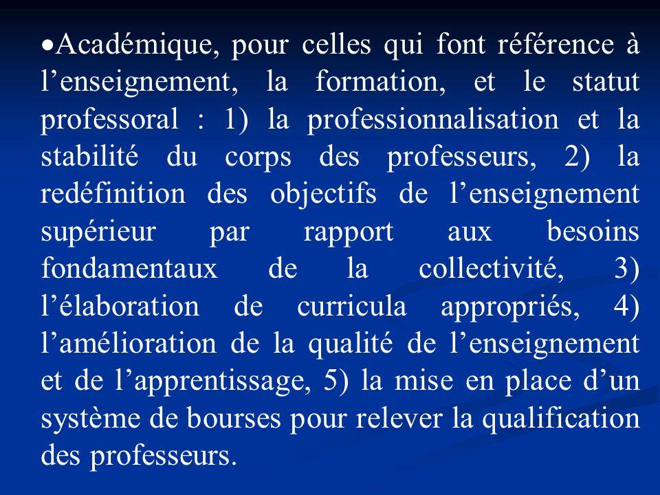 Académique, pour celles qui font référence à lenseignement, la formation, et le statut professoral : 1) la professionnalisation et la stabilité du cor