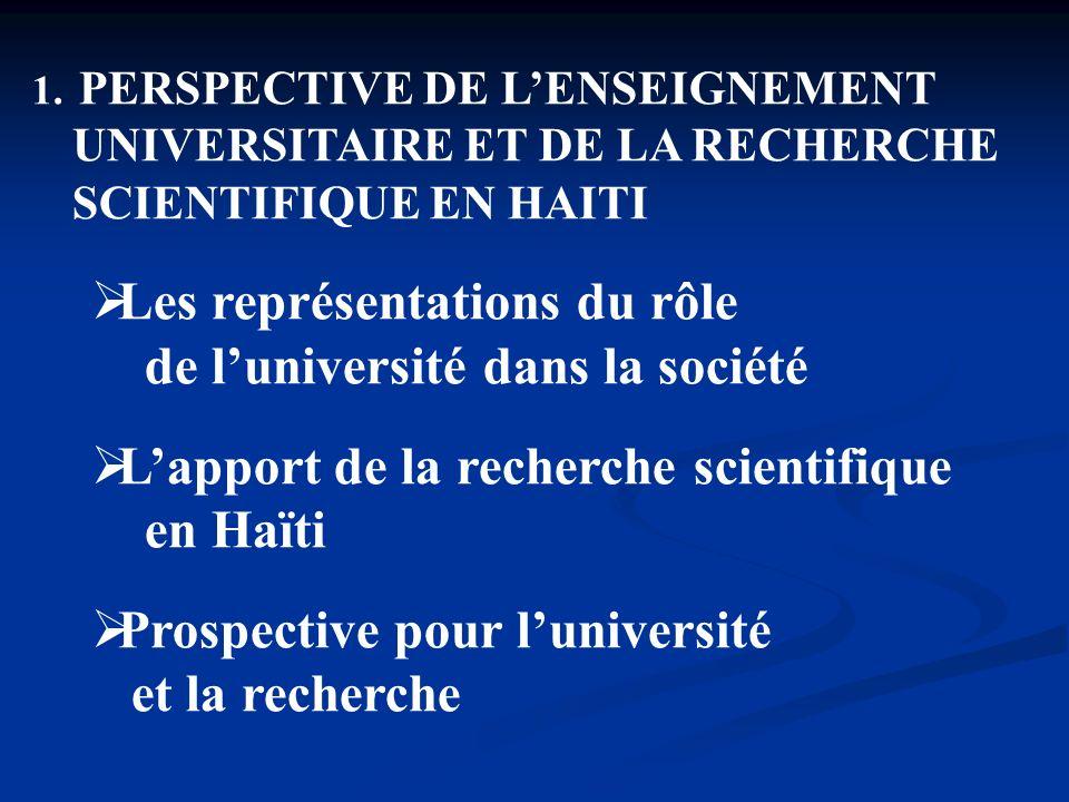 1. PERSPECTIVE DE LENSEIGNEMENT UNIVERSITAIRE ET DE LA RECHERCHE SCIENTIFIQUE EN HAITI Les représentations du rôle de luniversité dans la société Lapp