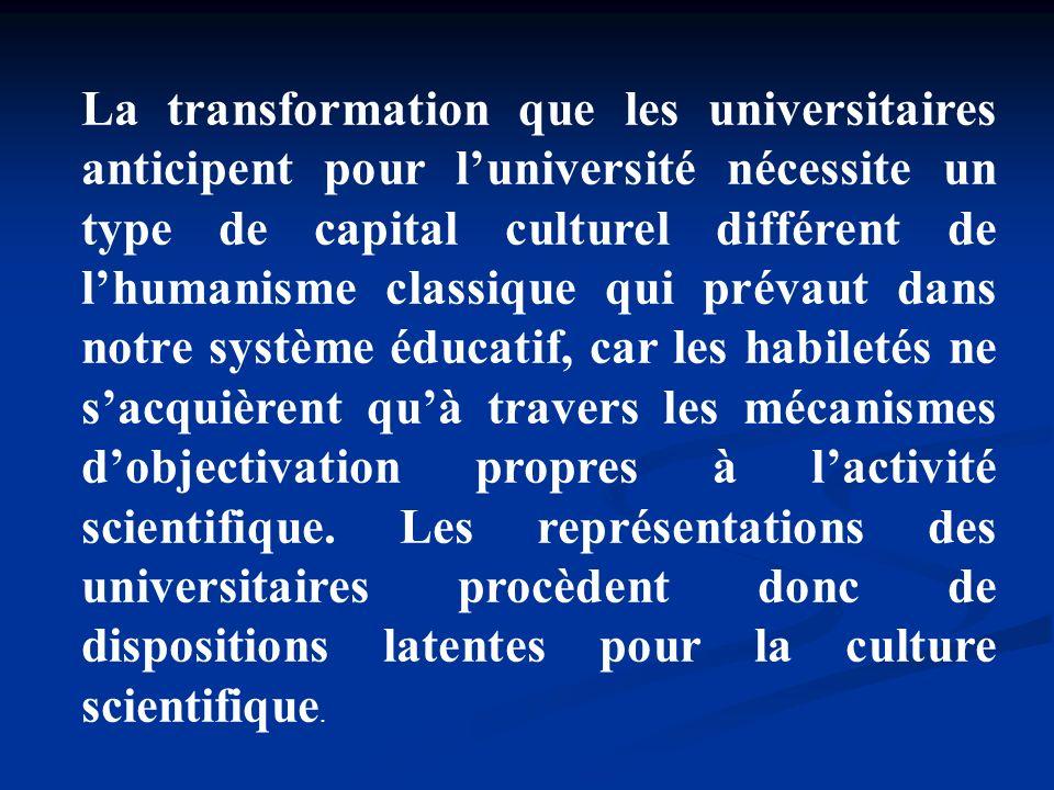 La transformation que les universitaires anticipent pour luniversité nécessite un type de capital culturel différent de lhumanisme classique qui préva