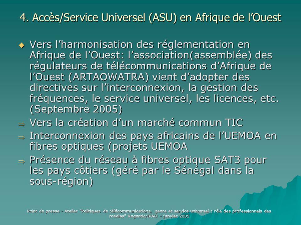 Point de presse - Atelier Politiques de télécommunications, genre et service universel : rôle des professionnels des médias Regentic/IPAO - janvier 2005 4.