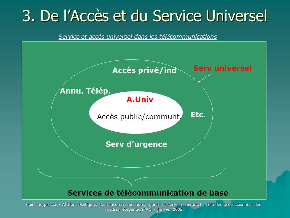 Point de presse - Atelier Politiques de télécommunications, genre et service universel : rôle des professionnels des médias Regentic/IPAO - janvier 2005 3.