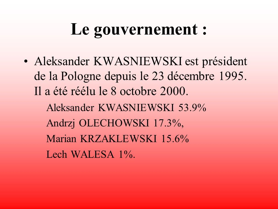Les principaux partis politiques : Coalition for Poland or KdP Confederation for an Independent Poland-Patriotic Camp or KPN-OP Democratic Left Alliance or SLD Freedom Union or UW German Minority of Lower Silesia or MNSO Movement for the Reconstruction of Poland or ROP-PC Polish Accord or PP Polish Peasant Party or PSL Polish Socialist Party or PPS Solidarity Electoral Action or AWS Social Movement-Solidarity Electoral Action or RS-AWS