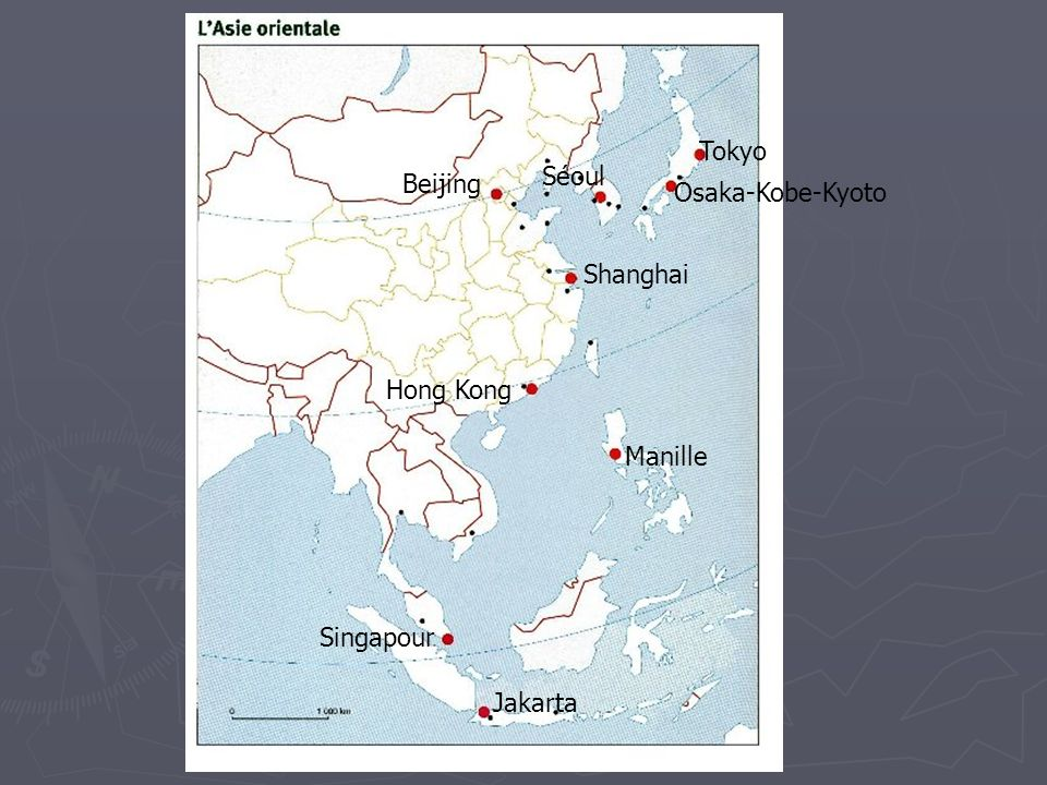 Tokyo Séoul Osaka-Kobe-Kyoto Hong Kong Manille Singapour Jakarta Beijing Shanghai