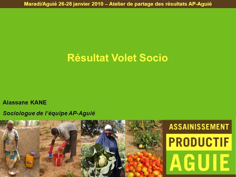 Résultat Volet Socio Maradi/Aguié 26-28 janvier 2010 – Atelier de partage des résultats AP-Aguié Alassane KANE Sociologue de léquipe AP-Aguié