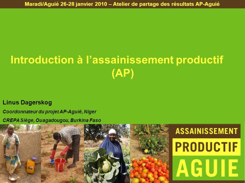 Introduction à lassainissement productif (AP) Maradi/Aguié 26-28 janvier 2010 – Atelier de partage des résultats AP-Aguié Linus Dagerskog Coordonnateu