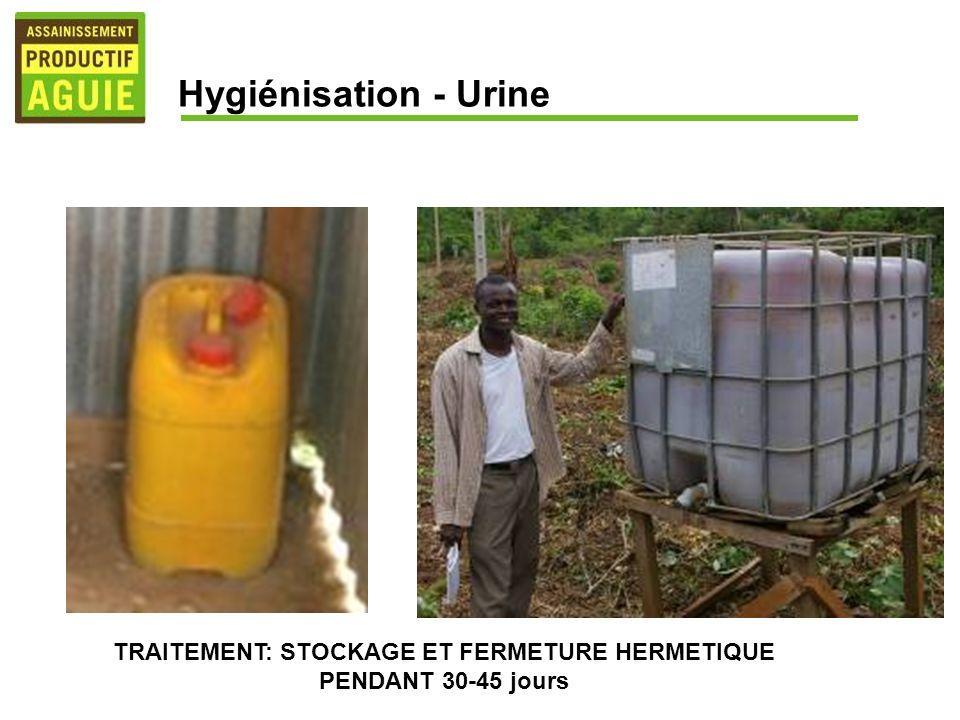 TRAITEMENT: STOCKAGE ET FERMETURE HERMETIQUE PENDANT 30-45 jours Hygiénisation - Urine
