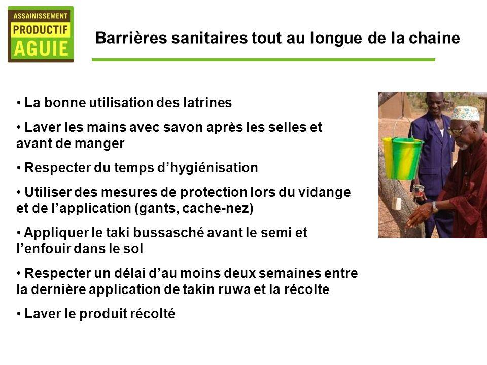 Barrières sanitaires tout au longue de la chaine La bonne utilisation des latrines Laver les mains avec savon après les selles et avant de manger Resp