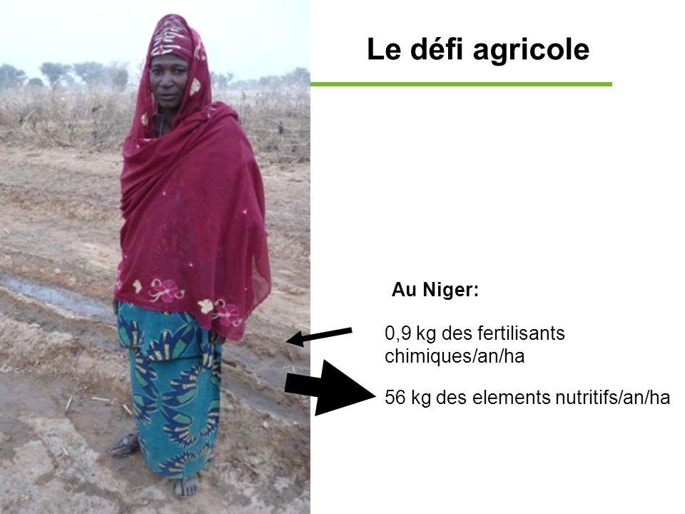 Le défi agricole 0,9 kg des fertilisants chimiques/an/ha 56 kg des elements nutritifs/an/ha Au Niger: