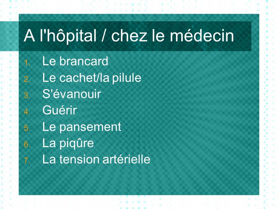 A l hôpital / chez le médecin 1. Le brancard 2. Le cachet/la pilule 3.