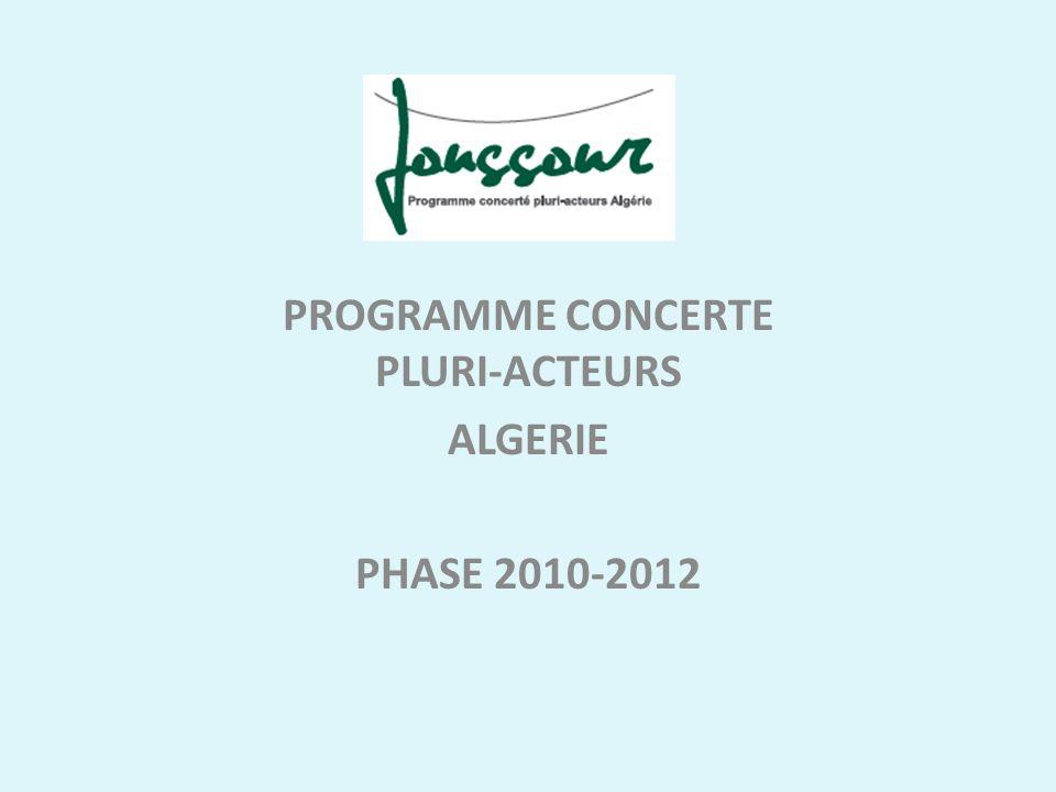 PROGRAMME CONCERTE PLURI-ACTEURS ALGERIE PHASE 2010-2012