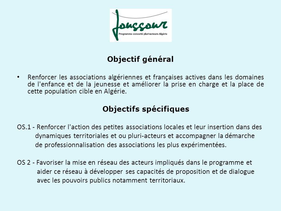 Objectif général Renforcer les associations algériennes et françaises actives dans les domaines de l'enfance et de la jeunesse et améliorer la prise e