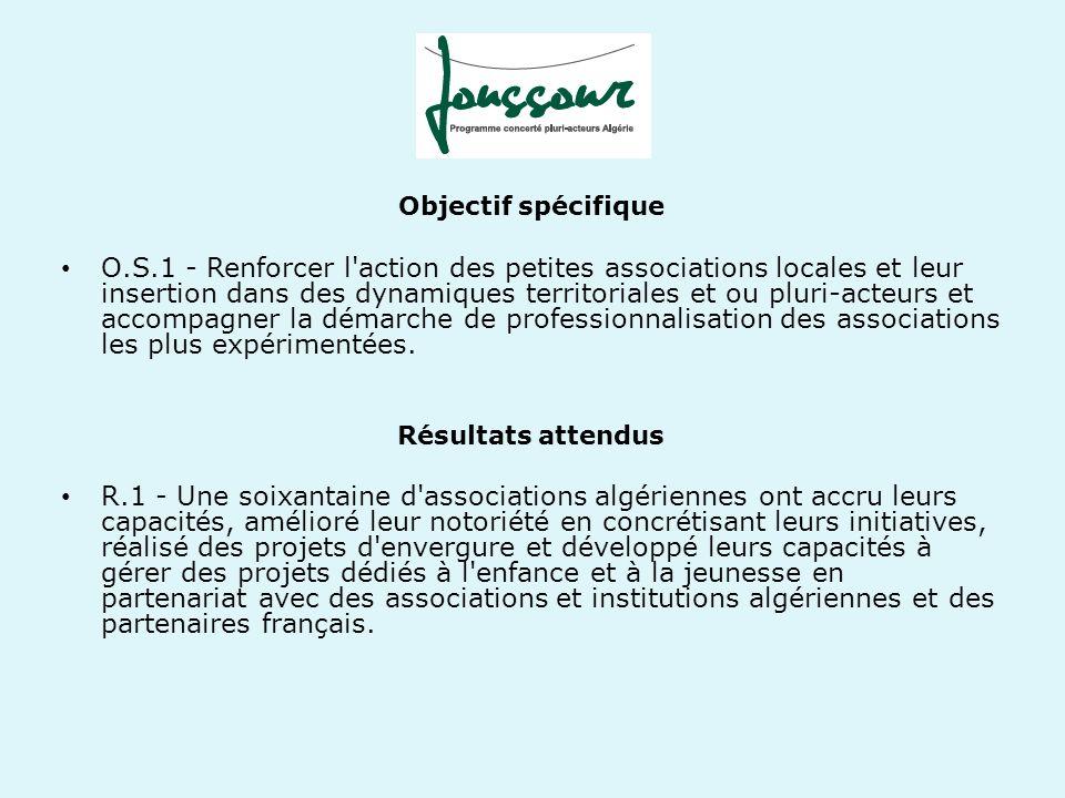 Objectif spécifique O.S.1 - Renforcer l'action des petites associations locales et leur insertion dans des dynamiques territoriales et ou pluri-acteur
