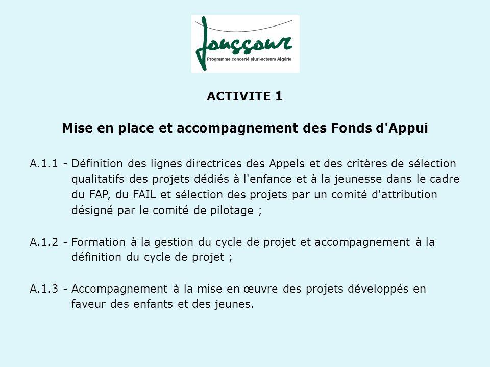 ACTIVITE 2 Formation, accompagnement et mutualisation A.2.1 - Mise en place d initiatives collectives et de rencontres franco algériennes ; A.2.2 - Formations à la gestion et à l animation de la vie associative ; A.2.3 - Mise en œuvre d animations régionales favorisant le dialogue entre acteurs associatifs et avec les autorités locales ; A.2.4 - Réalisation de projets thématiques de mise en réseau et de plaidoyer à l échelle nationale favorisant le dialogue entre les acteurs associatifs et les acteurs institutionnels de l enfance et de la jeunesse ; A.2.5 - Réalisation d études thématiques ; A.2.6 -Mise en œuvre d un processus de capitalisation continue associant les membres à l occasion de journées méthodologiques et des séminaires de capitalisation ; A.2.7 - Diffusion de la mise en débat à travers des outils de communication.