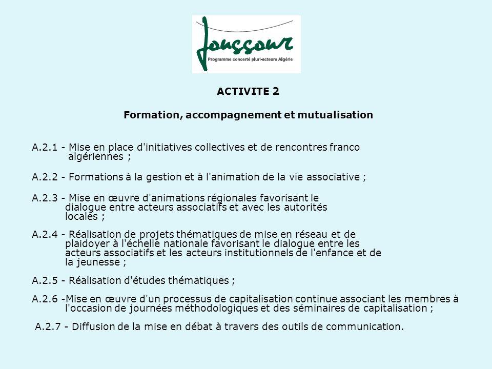 ACTIVITE 2 Formation, accompagnement et mutualisation A.2.1 - Mise en place d'initiatives collectives et de rencontres franco algériennes ; A.2.2 - Fo