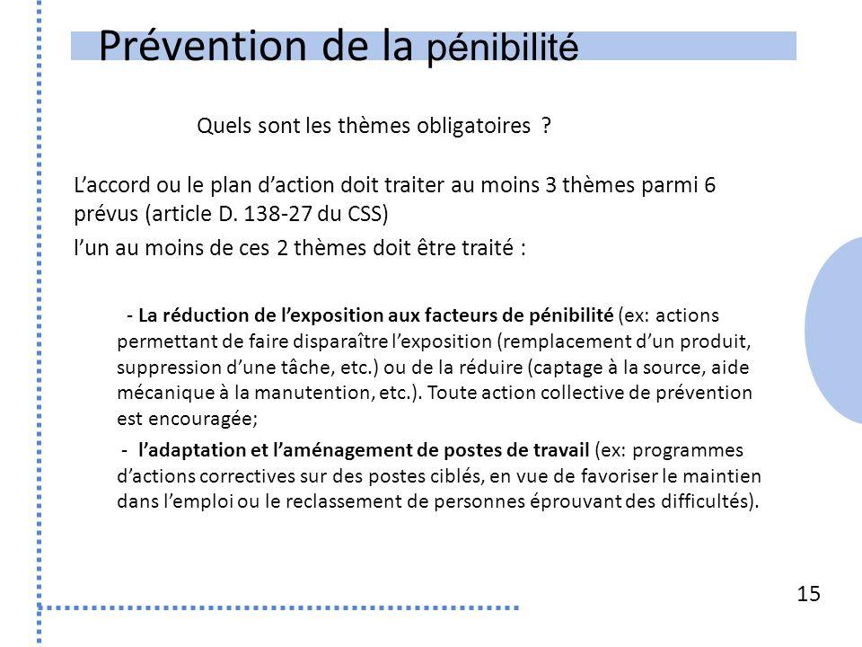 Prévention de la pénibilité 15 Laccord ou le plan daction doit traiter au moins 3 thèmes parmi 6 prévus (article D.