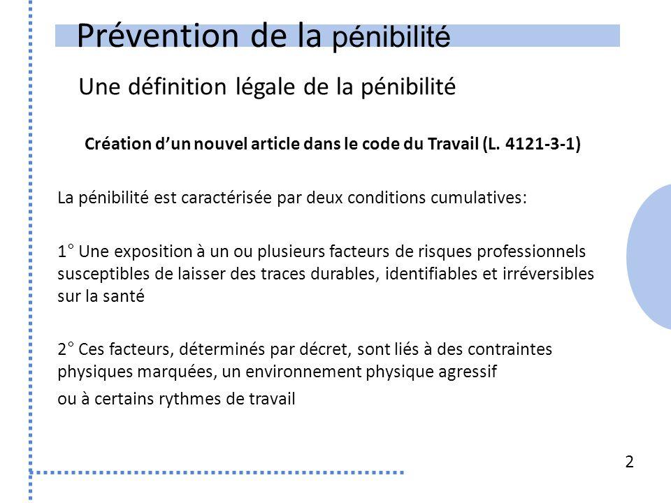 Prévention de la pénibilité Une définition légale de la pénibilité Création dun nouvel article dans le code du Travail (L.