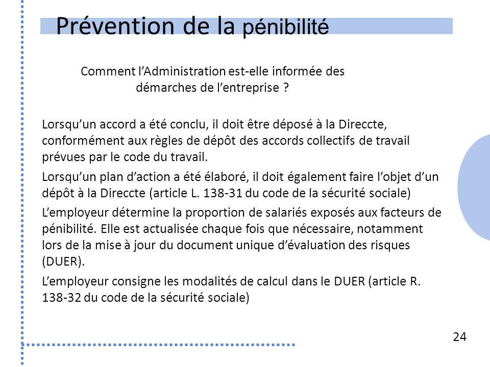 Prévention de la pénibilité 24 Lorsquun accord a été conclu, il doit être déposé à la Direccte, conformément aux règles de dépôt des accords collectifs de travail prévues par le code du travail.