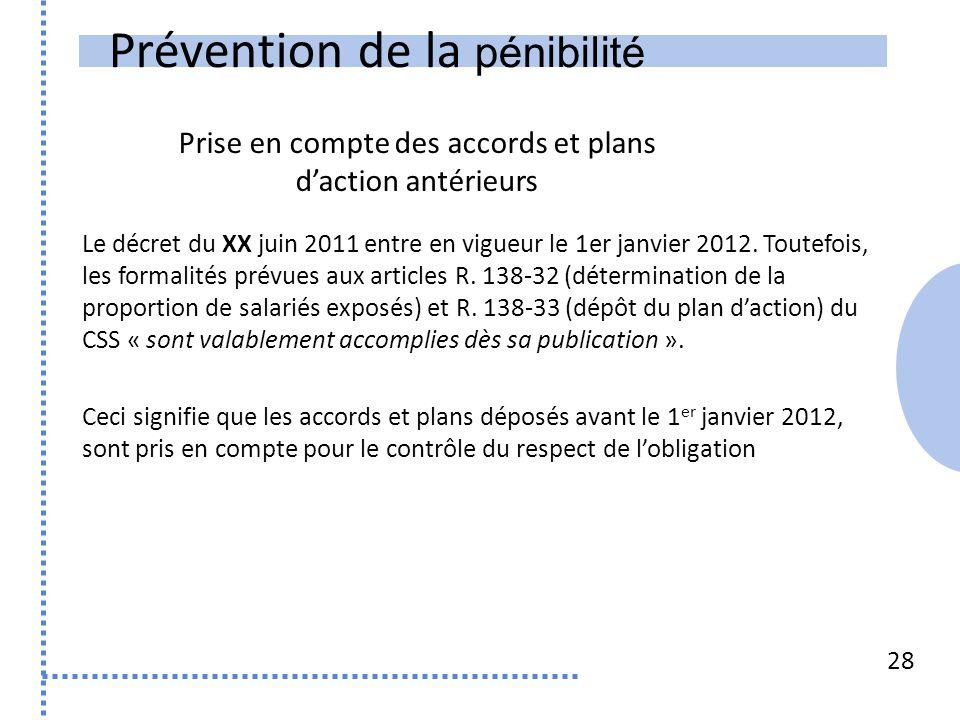 Prévention de la pénibilité 28 Le décret du XX juin 2011 entre en vigueur le 1er janvier 2012.