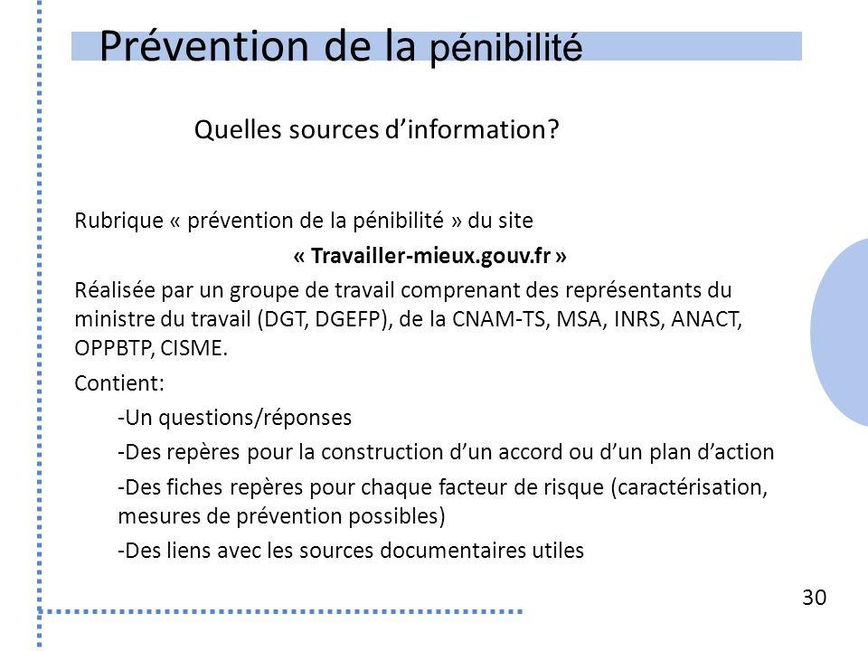 Prévention de la pénibilité 30 Rubrique « prévention de la pénibilité » du site « Travailler-mieux.gouv.fr » Réalisée par un groupe de travail comprenant des représentants du ministre du travail (DGT, DGEFP), de la CNAM-TS, MSA, INRS, ANACT, OPPBTP, CISME.