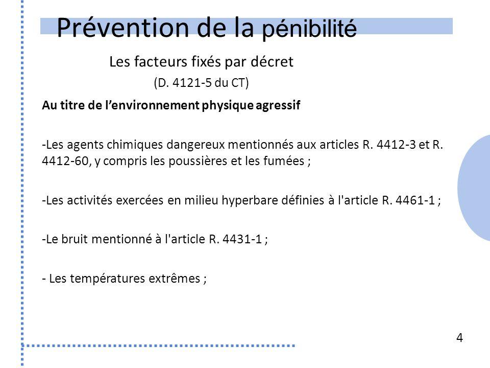 Prévention de la pénibilité Au titre de lenvironnement physique agressif -Les agents chimiques dangereux mentionnés aux articles R.