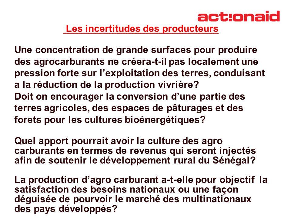 Les incertitudes des producteurs Une concentration de grande surfaces pour produire des agrocarburants ne créera-t-il pas localement une pression fort
