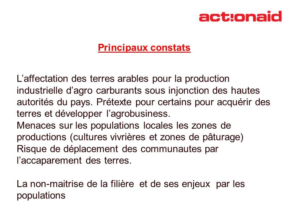Principaux constats Laffectation des terres arables pour la production industrielle dagro carburants sous injonction des hautes autorités du pays. Pré