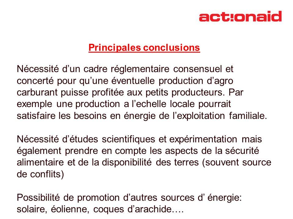 Principales conclusions Nécessité dun cadre réglementaire consensuel et concerté pour quune éventuelle production dagro carburant puisse profitée aux