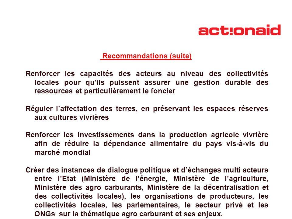 Recommandations (suite) Renforcer les capacités des acteurs au niveau des collectivités locales pour quils puissent assurer une gestion durable des re