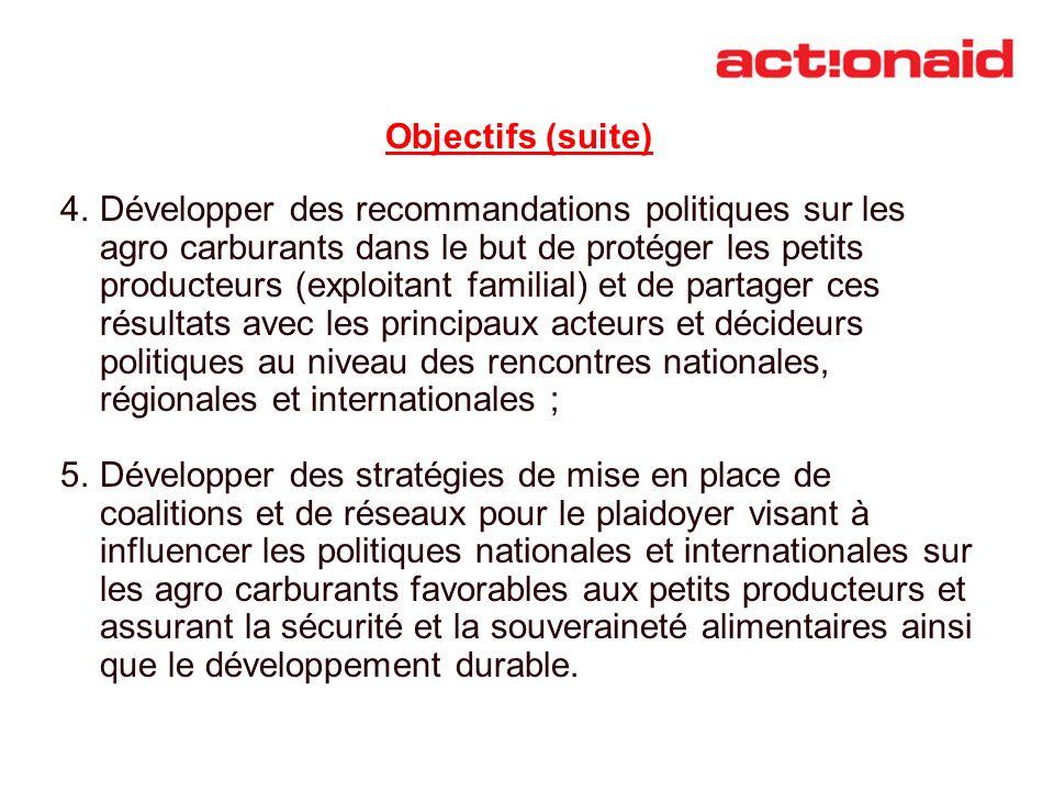Objectifs (suite) 4.Développer des recommandations politiques sur les agro carburants dans le but de protéger les petits producteurs (exploitant famil