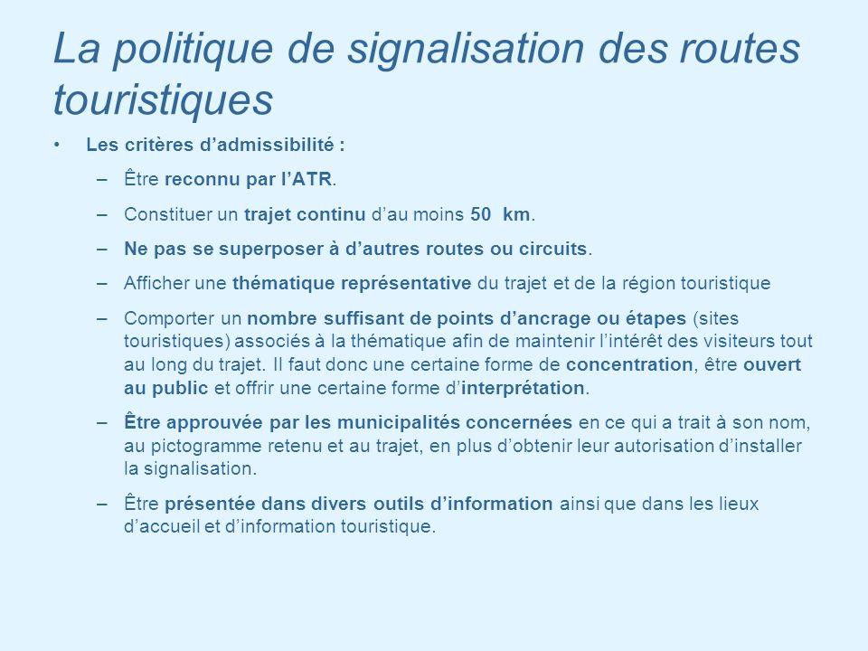 La politique de signalisation des routes touristiques Les critères dadmissibilité : –Être reconnu par lATR. –Constituer un trajet continu dau moins 50